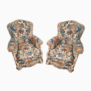 Mid-Century Italian Floral Lounge Chairs, Set of 2