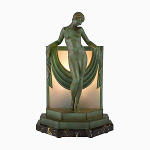 Art Deco French Table Lamp Sculpture by Pierre Le Faguays for Max Le Verrier, 1930s