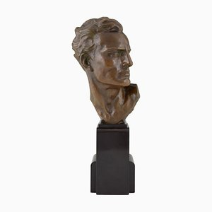 Art Deco Bronze Male Bust Sculpture by Ugo Cipriani, 1930s