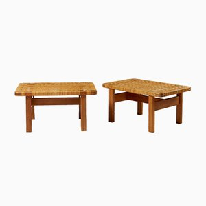 Tavolini nr. 5273 in quercia e canna di Börge Mogensen per Fredericia, Danimarca, anni '50, set di 2