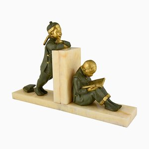 Art Deco Bronze Bookends by Mabel White, 1920s