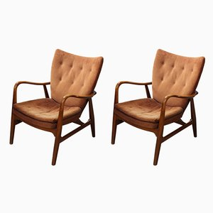 Danish Wooden Armchairs by Ib Madsen and Acton Schubell, 1950s, Set of 2