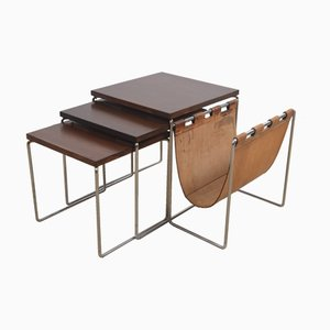 Leather Magazine Holder & Nesting Table Set from Brabantia, 1960s