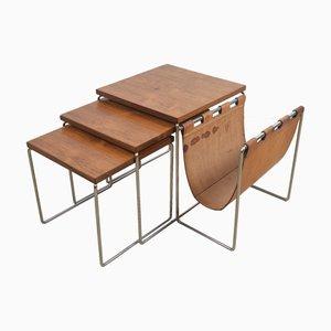 Portariviste e tavolini a incastro in pelle di Brabantia, anni '60