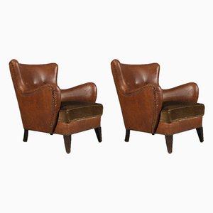 Vintage Danish Beech, Leather & Velvet Armchairs, 1930s, Set of 2