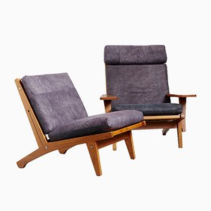 Danish Oak GE-375 Lounge Chairs by Hans J. Wegner for Getama, 1970s, Set of 2