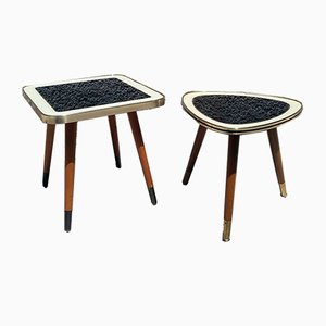 Beech and Glass Side Table Set, 1960s