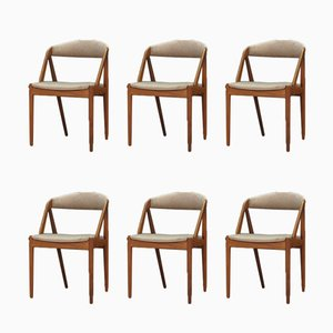 Dänische Esszimmerstühle mit Gestell aus Teak & Stoffbezug von Kai Kristiansen, 1960er, 6er Set