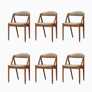 Danish Fabric and Teak Dining Chairs by Kai Kristiansen, 1960s, Set of 6