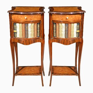 Antique French Rosewood & Maple Napoleon III Nightstands, Set of 2