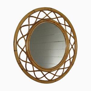Espejo italiano Mid-Century con marco de bambú, años 60