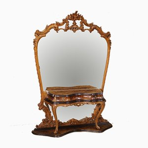 Antique Style Italian Burl Walnut, Beech & Ebonized Wood Mirror, 1950s
