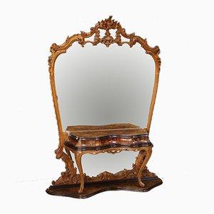 Italienischer Spiegel mit Rahmen aus Nusswurzelholz, Buche & ebonisiertem Holz im Antikstil