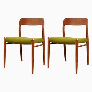 Dänische Modell 75 Stühle aus Teak von Niels Otto Møller für J.L. Møllers, 1970er, 2er Set