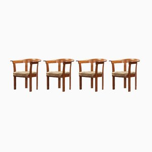 Mahogany Armchairs by Stig Lönngren for Lars Larsson, 1970s, Set of 4