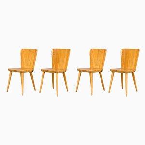 Beistellstühle aus Kiefernholz von Göran Malmvall für Svensk Fur, 1950er, 4er Set
