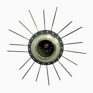 Französische Deckenlampen aus Messing & Eisen, 1950er, 2er Set