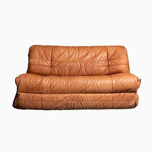 Vintage German Cognac 2-Seater Leather Sofa, 1970s