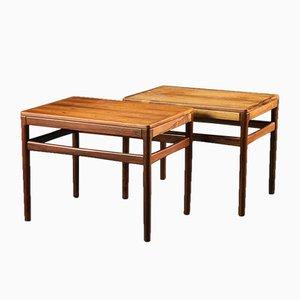 Tavolini da caffè Mid-Century in palissandro, Danimarca, anni '50, set di 2