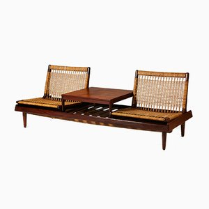 Model 161 Danish Teak and Wicker Bench Set by Hans Olsen for Bramin, 1957