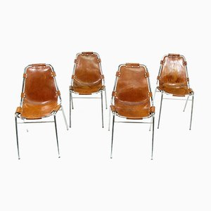 French Leather and Steel Side Chairs, 1970s, Set of 4