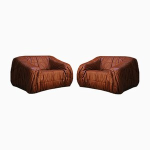 Italian Cognac Leather Lounge Chairs by D'Urbino, Lomazzi, and De Pas from Dall'Oca, 1970s, Set of 2