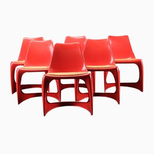Danish Plastic Side Chairs by Steen Ostergaard for Cado, 1960s, Set of 6