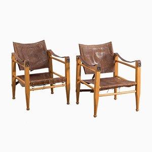 Sessel mit Sitz aus Leder & Gestell aus Eichenholz, 1950er, 2er Set