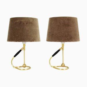 Lampade da tavolo in ottone di Kaare Klint, Danimarca, anni '50, set di 2