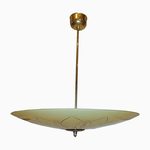 Mid-Century Art Deco German Antiqued Glass and Brass Chandelier