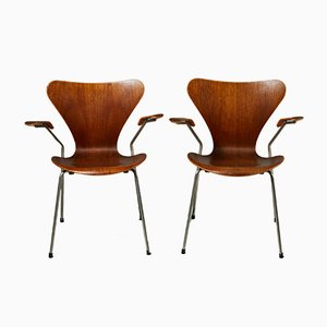 Danish Steel and Teak Armchairs by Arne Jacobsen for Fritz Hansen, 1950s, Set of 2