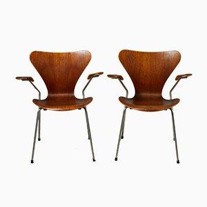 Poltrone in acciaio e teak di Arne Jacobsen per Fritz Hansen, Danimarca, anni '50, set di 2