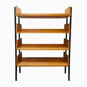 Deutsches Mid-Century Bücherregal aus Metall & Holz, 1950er