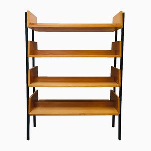 Mid-Century German Metal and Wood Bookcase, 1950s