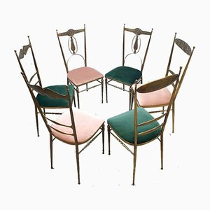 Italian Brass and Velvet Dining Chairs, 1960s, Set of 6