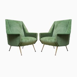 Italian Brass and Velvet Armchairs, 1950s, Set of 2