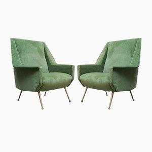 Italienische Sessel mit Gestell aus Messing & Samtbezug, 1950er, 2er Set
