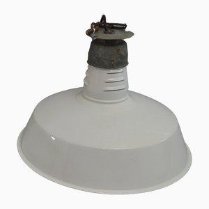 Mid-Century Fabrik Deckenlampe aus weißer Emaille, 1950er