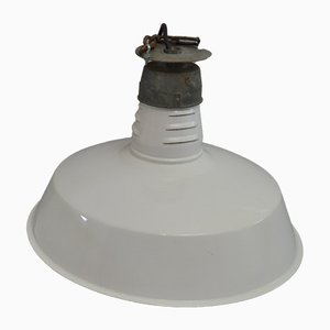 Mid-Century White Enamel Factory Ceiling Lamp, 1950s