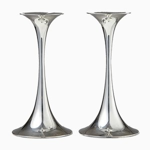 Modernist Silver Candleholders by Tapio Wirkkala for Gold Center, 1963, Set of 2