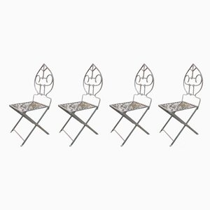 Mid-Century Wrought Iron Garden Chairs, 1950s, Set of 4