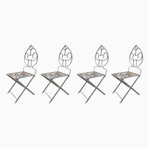 Sedie da giardino Mid-Century in ferro battuto, anni '50, set di 4