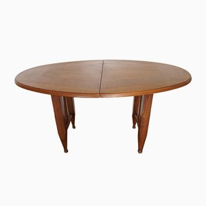 French Oval Oak Dining Table by Guillerme et Chambron for Votre Maison, 1960s