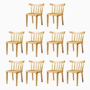 Chaises de Salle à Manger Modernistes en Bouleau et Jonc par Aino Aalto pour Artek, 1950s, Set de 10