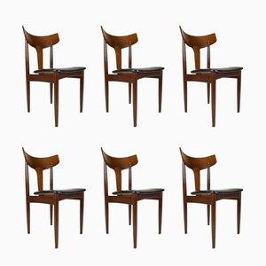 Dänische Beistellstühle mit Sitz aus Kunstleder & Gestell aus Wengeholz von Samcom, 1960er, 6er Set