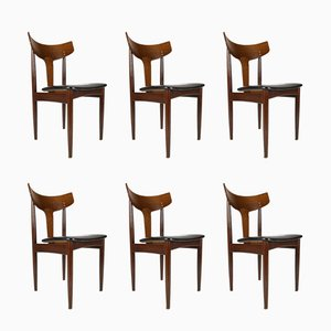 Danish Leatherette and Wenge Side Chairs from Samcom, 1960s, Set of 6