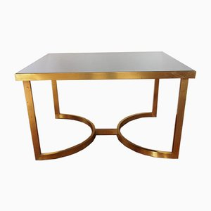 Vintage Italian Brass Coffee Table with Mirrored Glass Top, 1970s