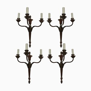Vintage Neo-Classical Style Bronze Sconces, 1920s, Set of 4