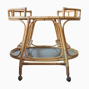 Bohemian Glass & Rattan Tiki Trolley, 1960s