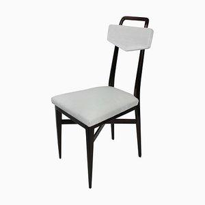 Italienische Esszimmerstühle mit Gestell aus Mahagoni & Samtsitz, 1950er, 4er Set